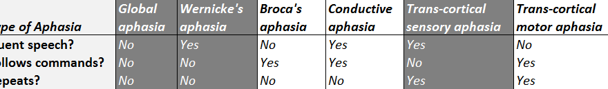 receptive aphasia classification
